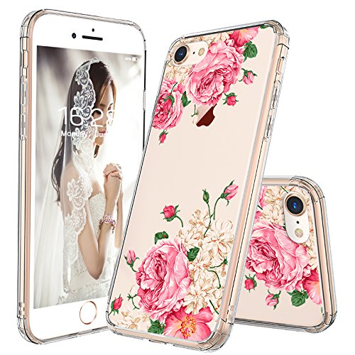 iPhone 7 Case, iPhone 8 Cover, MOSNOVO Floral Pink Rose Flower Clear Design Transparent Plastic Hard with TPU Bumper Protective Back Phone Case for Apple iPhone 7 (2016) / iPhone 8 (2017)