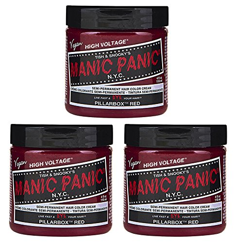 Price comparison product image Manic Panic Semi-Permament Haircolor Pillarbox Red 4oz (3 Pack)