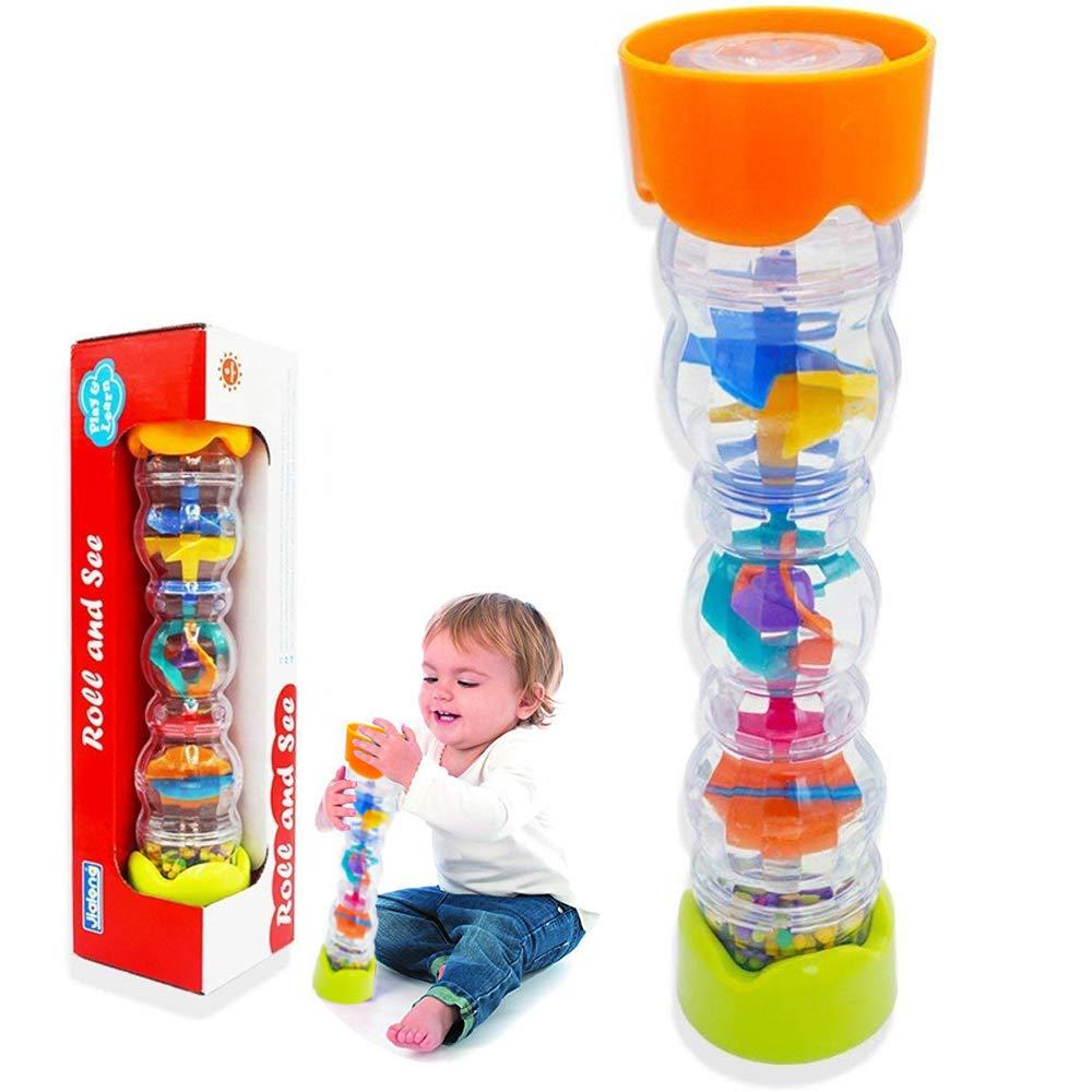 Here Fashion 8'' Mini Rainmaker Toy for Babies Rainfall Rattle Tube Rain Stick Shaker Music Sensory Auditory Instrument Toy