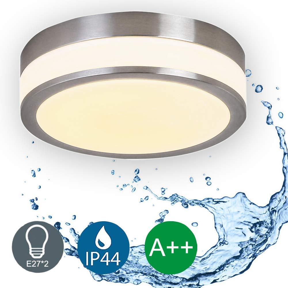 LED Deckenleuchte Bad-Lampe Aussen-Leuchte 2x E27 230V IP44 LED Wandleuchte LED Leuchte Aussenbeleuchtung Wohnzimmerlampe fü r Badezimmer Kü che Flur Badleuchte Rund Ø 25 cm (ohne Leuchtmittel) Auen Lighting