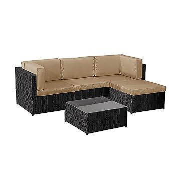 5 pcs terrasse Salon Canapé d\'angle en rotin meubles de ...