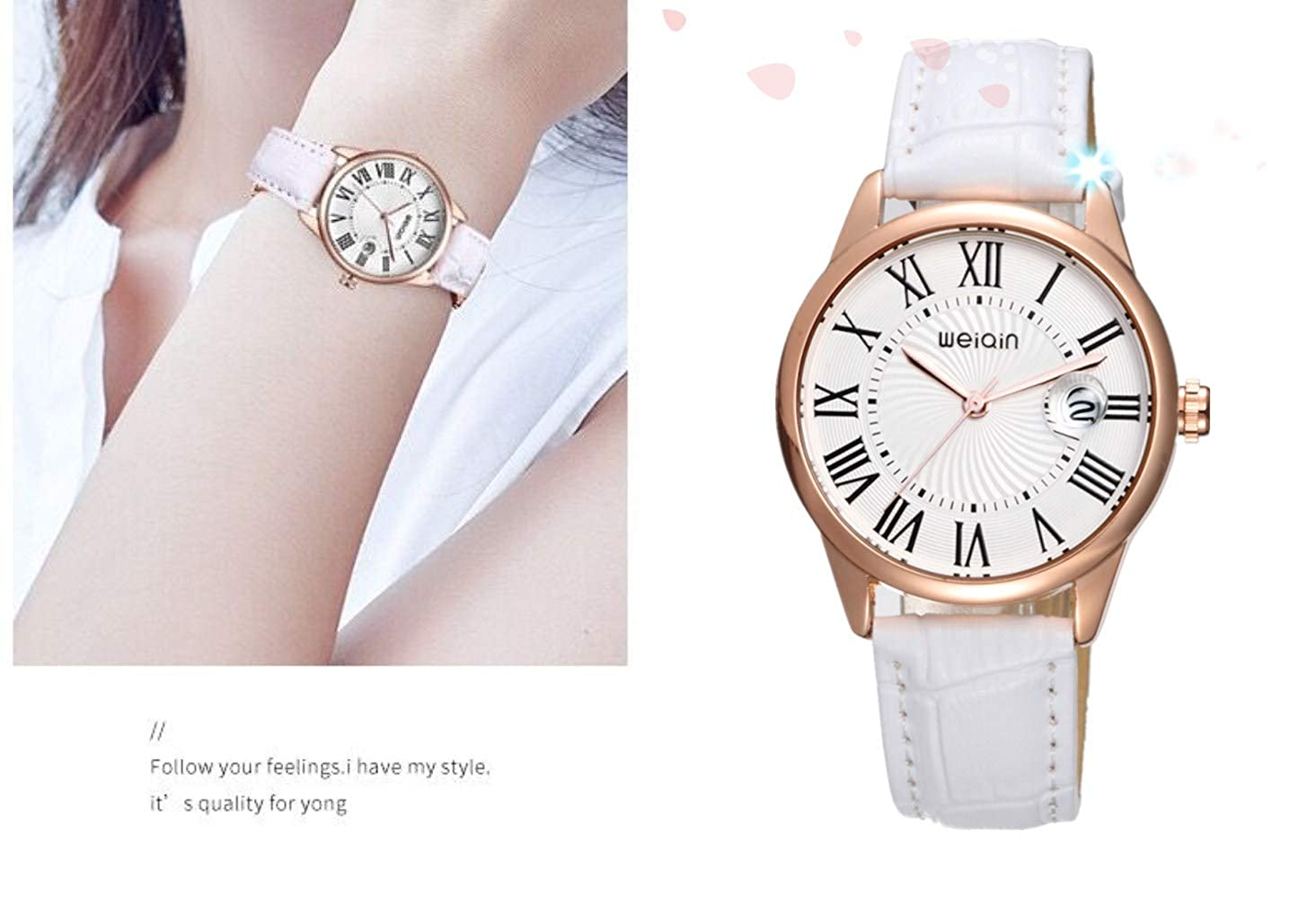 Amazon.com: Fashion Women Leather Watches,Classic Simple Ladies Dress Watches Waterproof (White): Watches