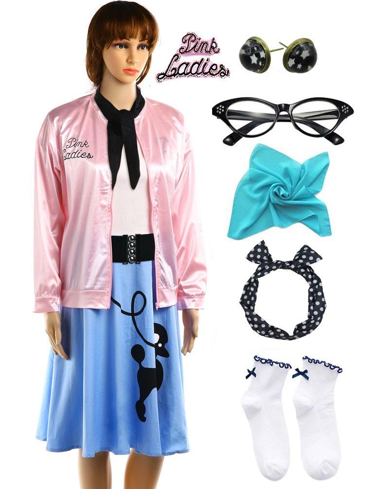 Hofolio 1950s Pink Ladies Rhinestone Jacket Outifit with Poodle Dress