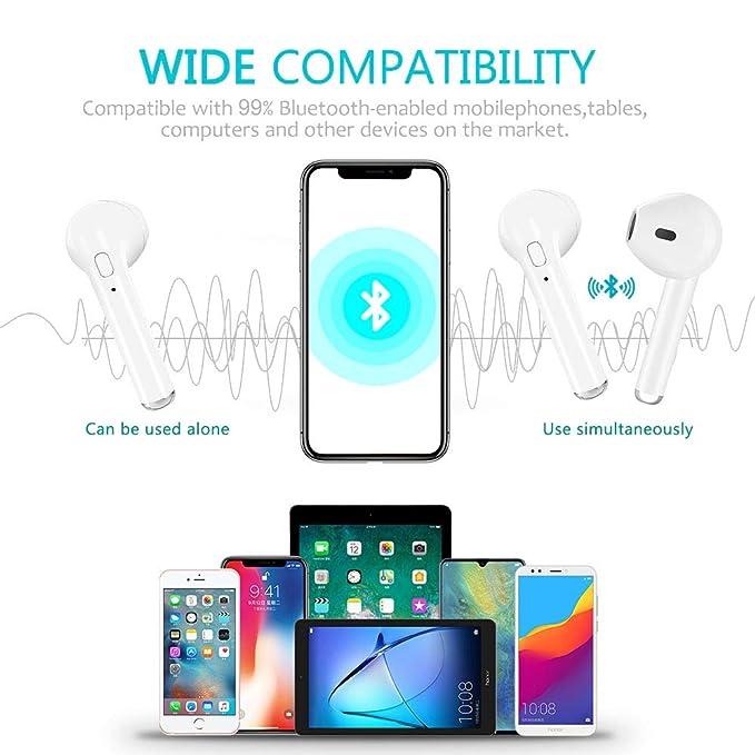 Auriculares Bluetooth, i7 Auriculares Inalámbricos con Caja de Carga Portátil, Auriculares Estéreo Cancelación de Ruido y HD Incorporado Micrófono para ...