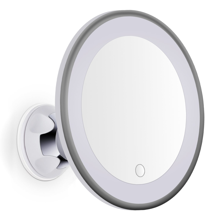 Specchio rotondo per trucco/rasatura con ingrandimento di 10x marqvs con luce LED regolabile e Touch, con ventosa extra forte, rotazione 360° + Prolunga fissaggio di collo d' oca metallo regalo, Specchio pieghevole da viaggio, colore: bianco