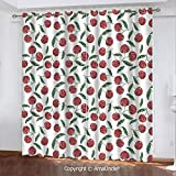 Home Fashion Blackout Curtain with Luxury Feeling,Garden Decor,Grunge Mosaic Style Cherries Seasonal Ripe Sweet Fruits Fresh Orchard Harvest,Red Green Pattern,W108.3xL95.3 Inches,Elegant Window Print