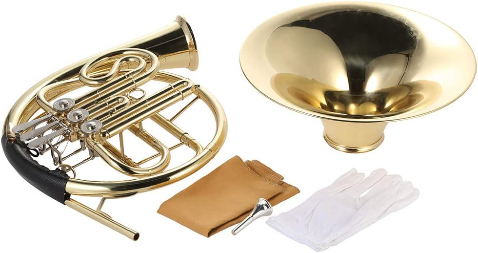 Sangmei French Horn B//Bb Flat 3 Key Brass Gold Lacquer Single-Row Split Wind Instrument with Cupronickel Mouthpiece Case