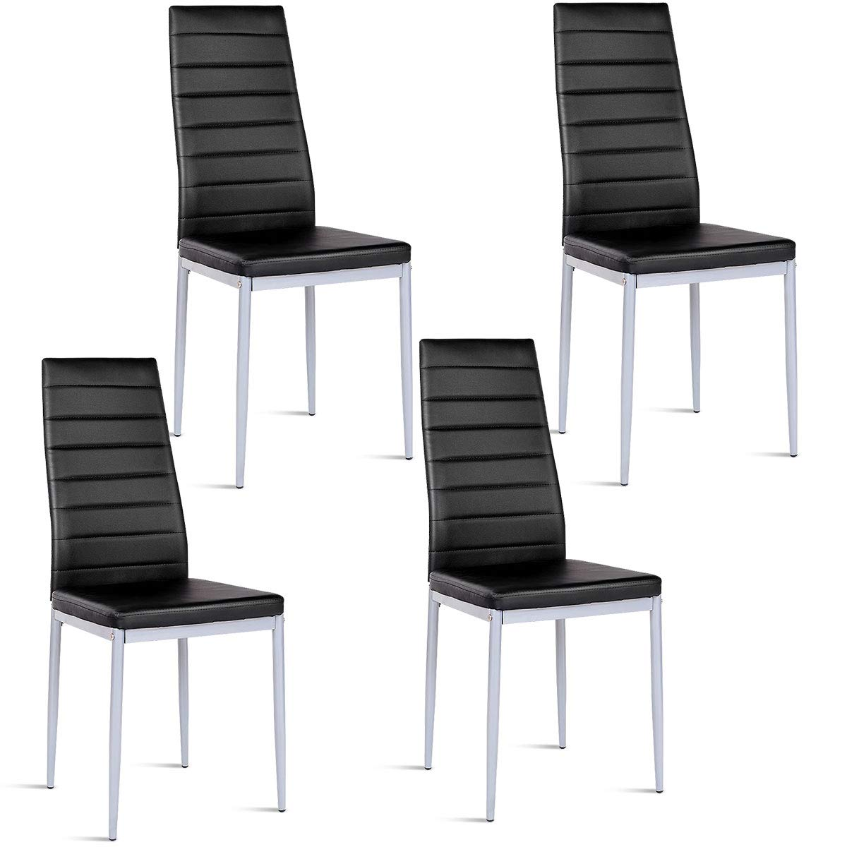 Giantex Set of 4 PU Leather Dining Side Chairs with Padded Seat Foot Cap Protection Stable Frame Heavy Duty Elegant Ergonomically High Back Design for Kitchen Dining Room Home Furniture, Black by Giantex