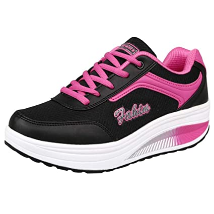 2019 Women Casual Sport Shoes,Mesh Heightening Shoes Soft Bottom Rocking Shoes Breathable Mesh Lace