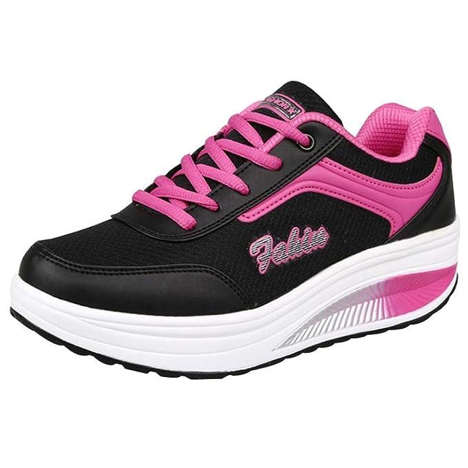 14b08d9d Zapatos Deportes Para Mujer Cuña Con Cordones Calzado Al Aire Libre Zapatillas  De Deportivos De Malla Para Correr Sneakers Con Plataforma Ligero Fitness  ...