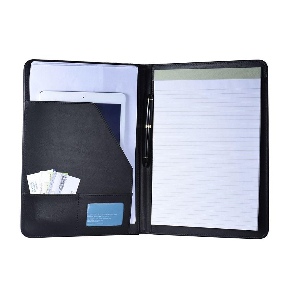 aibecy A4dimensioni multifunzione schienale Portafoglio di documento Affari in pelle PU con Supporto di biglietto da visita/Memo/Note