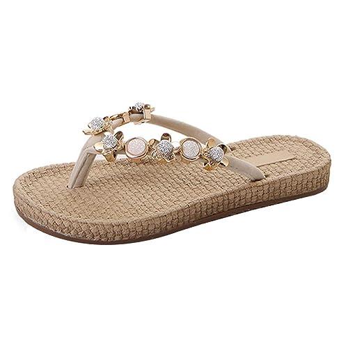 LHWY Zapatillas de Playa para Mujer Zapatillas de Playa de Verano con Diamantes de imitación de Metal de Fondo Plano: Amazon.es: Zapatos y complementos