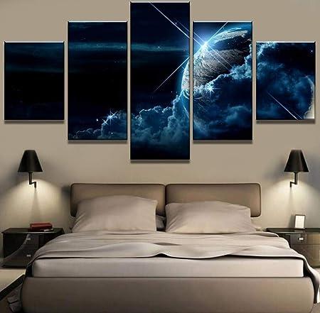 mmwin 5 Piezas Lienzo Arte Tierra Nubes cósmicas Cuadros ...