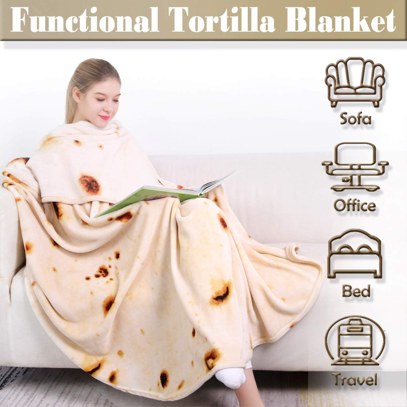 NEPLUTO Burrito Blanket Upgraded 71 inches Burrito Blanket for Adult and Kids Novelty Tortilla Throw Blanket Realistic Soft Flannel Taco Blanket
