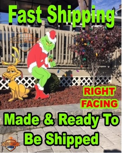 Wooden Christmas Yard Art - Grinch Stealing Christmas Lights & Max The Dog Right Facing Grinch Yard Art FAST SHIPPING