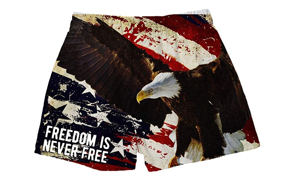 BRIEF INSANITY Mens Boxer Shorts Underwear USA Flag /& Eagle Print