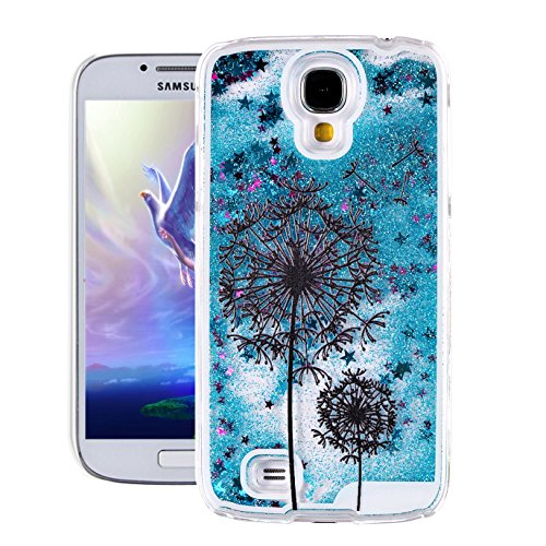 Galaxy S4 Case, Samsung S4 Case, EMAXELER 3D Creative Painted Pattern Flowing Liquid Floating Bling Shiny Liquid Polycarbonate Hard Case for Samsung Galaxy S4 + Stylus Pen-Blue: Black Dandelion