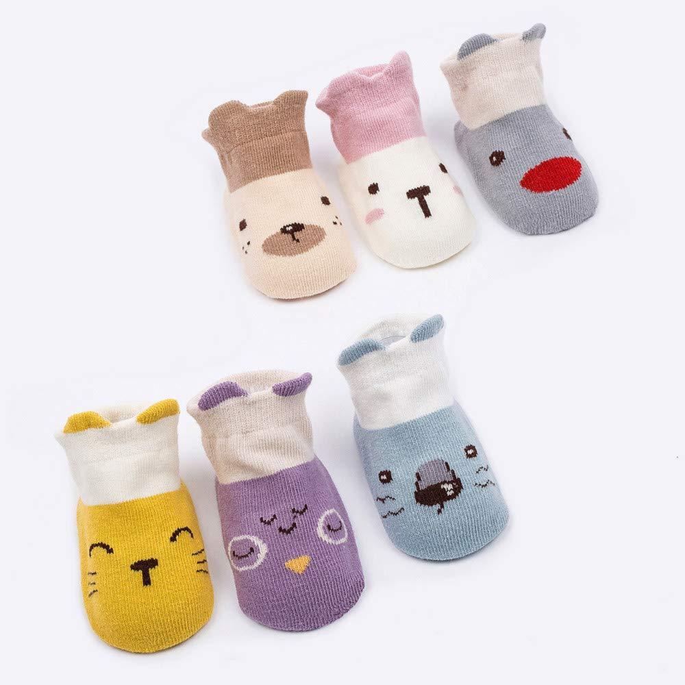 0-24 Months 4t Kids Infant Toddler Baby Boys Girls Anti-Slip Knitted Socks,Cartoon Animals Warm Floor Ankle Socks Santa Gift