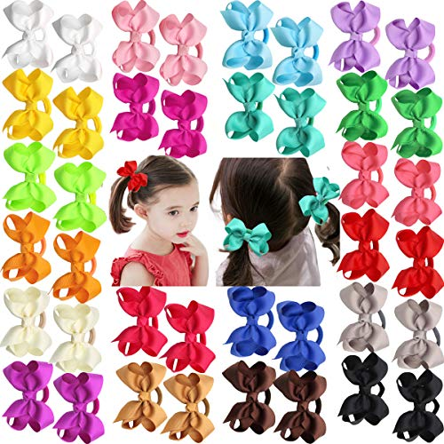 40Pcs Boutique Grosgrain Ribbon Hair Bows Pigtail Holders Elastic Ties Hair Bands For Babies Toddlers Teens Gifts In - Pigs Ties