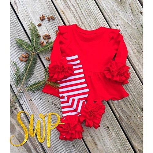 Red girls ruffle tunic and red white stripes ruffle leggings set, sizes newborn-24m