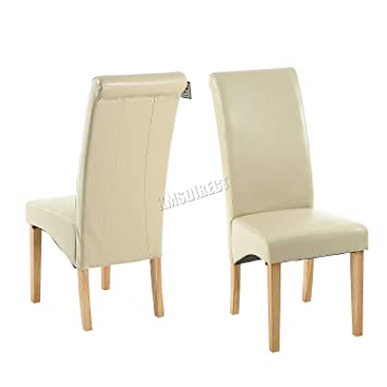WestWood Furniture Set of 4 Premium Cream Faux Leather Dining Chairs Roll Top Scroll High Back  sc 1 st  Amazon UK & WestWood Furniture Set of 4 Premium Cream Faux Leather Dining Chairs ...