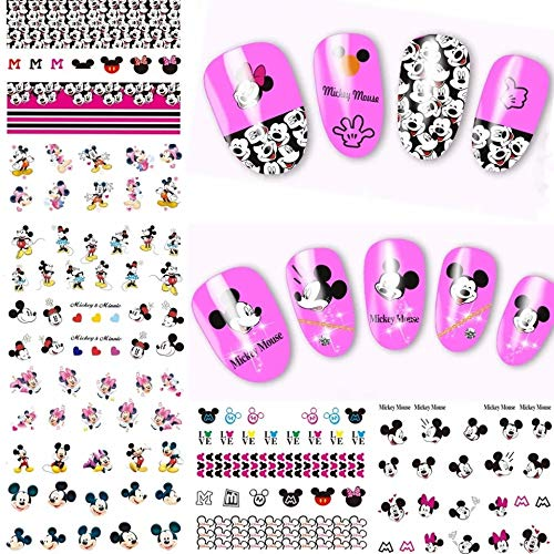 - 12 sets Disney princess cartoon NAIL DECALS over 120 MICKEY MOUSE minnie mouse ears disneyland decor NAIL ART water transfer walt disney world souvenir kit nail foil French tip nail stickers (1 mm)