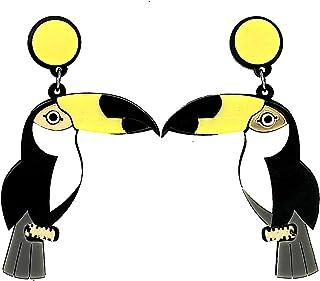 Moda Monili Ragazze Boho Acrilic Nero Giallo Grande Uccello Perno Orecchini Per donne