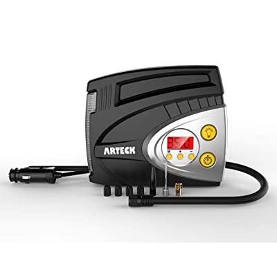 Tire Inflator, Arteck Portable 12V DC Tire Air Compressor Pump 150 PSI, Portable Digital Auto Tire Inflator with Gauge for Car, Bicycle, Motorcycle, Basketball and Others: Automotive