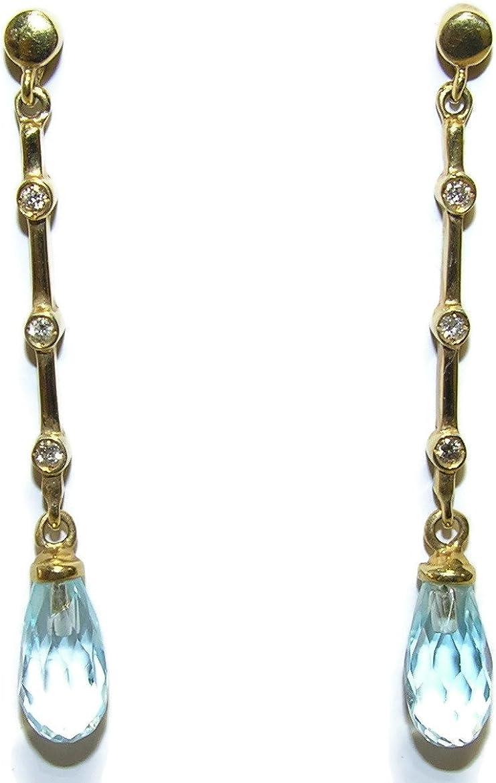 Pendientes de 0.12cts de diamantes talla brillante y topacios azules con oro amarillo de 18K. Cierre presión 4 cm de largos