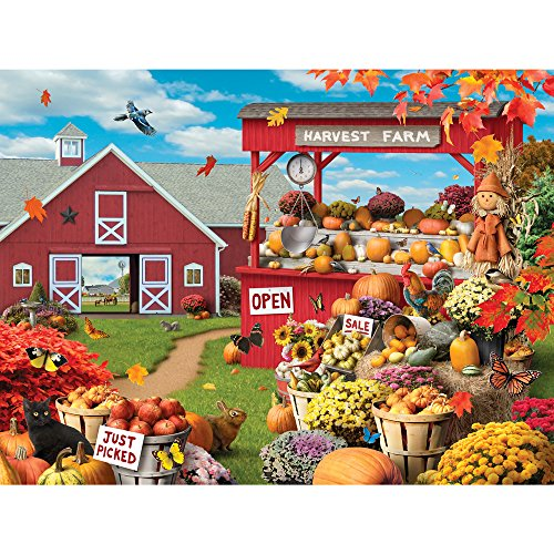 Bits and Pieces - 300 Large Piece Jigsaw Puzzle for Adults - Colors of The Season - 300 pc Fall, Autumn Scene Jigsaw by Artist Alan Giana