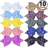 SIQUK 10 Pieces Glitter Hair Bows 5 Inch Bling Party Hair Bows Clips Multi Color Glitter Sequins Big Hair Bows Hair Accessories for Girls (Bonus: 1 pc Storage Bag)