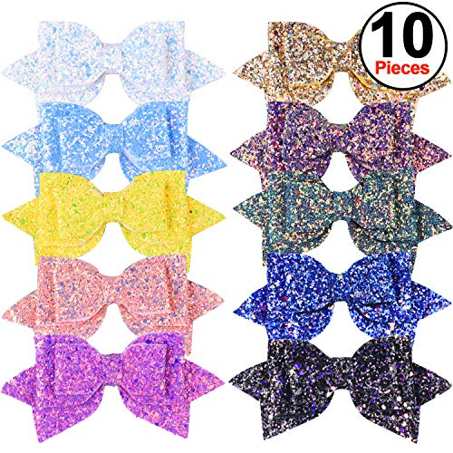 SIQUK 10 Pieces Glitter Hair Bows 5 Inch Bling Party Hair Bows Clips Multi Color Glitter Sequins Big Hair Bows Hair Accessories for Girls (Bonus: 1 pc Storage Bag) by SIQUK