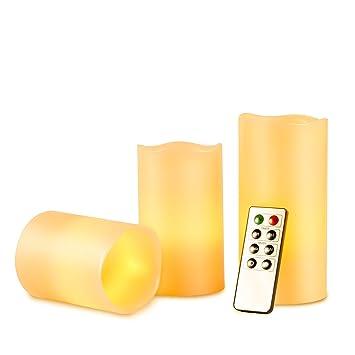 Amazon.com: Kohree Battery Operated Flameless Pillar Candles w ...