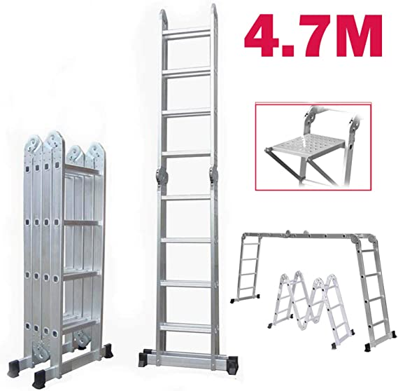 Escalera plegable multiusos de 4,7 m, 16 peldaños de aluminio, escalera telescópica, diferentes formaciones con 1 bandeja de herramientas: Amazon.es: Bricolaje y herramientas