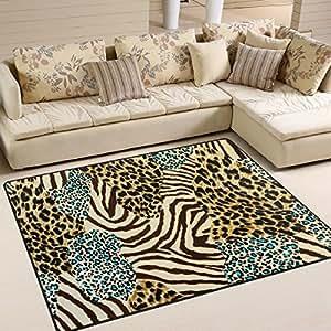 Amazon Com Alaza Animal Zebra Leopard Print Area Rug Rugs