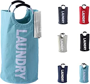 Laundry Basket - 1 Pack 82L Large Fabric Laundry Hamper Bag (6 Variations) - Collapsible, Portable, Foldable Clothes Bag Organization, Waterproof, Durable Handles For Bathroom, Kids Room (Light Blue)