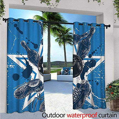 Bowling Party Balcony Curtains W84 x L96 Grunge Composition with Star Figure Color Splashes Shoes and Pins Outdoor Patio Curtains Waterproof with Grommets Blue Black and White (T-mac Basketball Shoes)