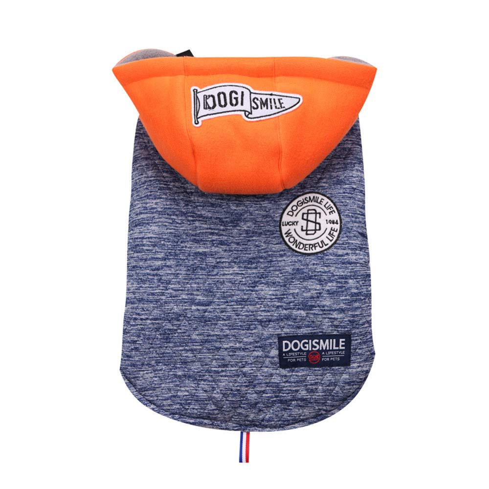 bluee L bluee L Dog Outdoor Sports Hooded Sweater Jacket Pet Warm Winter Coat Jacket 3 colors