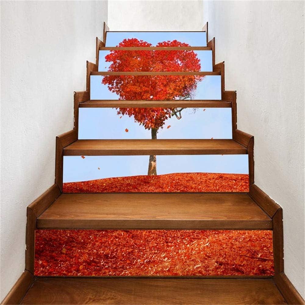 Escaleras autoadhesivas Pegatina Papel tapiz Pasillo Paso Pradera roja Sala de bodas a prueba de agua Decorativo para el hogar DIY HD Pegatina de pared móvil pegada Compre tres y llévese otro