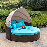 Sundale Outdoor Rattan Wicker Daybed Round Furniture Sofa with Retractable Canopy (Blue)