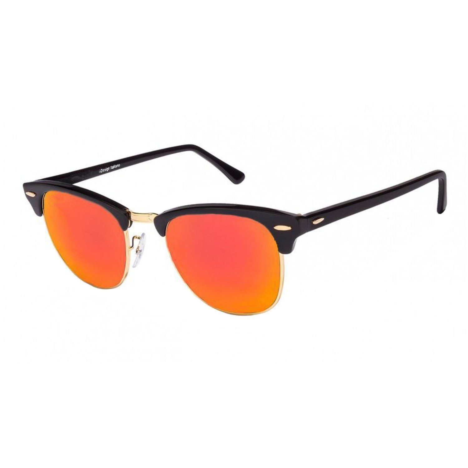 9449154771 Jazz Style Golden Black Frame Red Yellow Lens Club Master Unisex Wayfarer  Sunglasses  Amazon.in  Clothing   Accessories