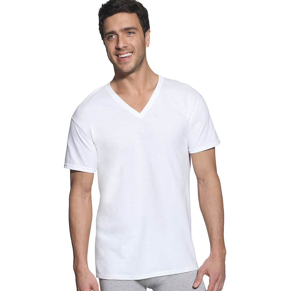 c443936ec44c Amazon.com: Hanes Men's FreshIQ V-Neck T-Shirts (4 Pack, 6 Pack and 12  Pack) (Large Tall, White - 6 Pack): Clothing