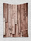 Wooden Wall Hanging Tapestry by Ambesonne, Vintage Barn Shed Floor Wall Planks Sepia Art Old Natural Plywood Lodge Image Print, Bedroom Living Room Dorm Decor, 60 W x 80 L Inches, Grey Brown