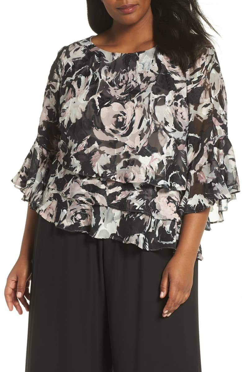 Alex Evenings Women's Plus Size Asymmetric Tiered Chiffon Blouse Shirt, Black/Rose Floral 3X
