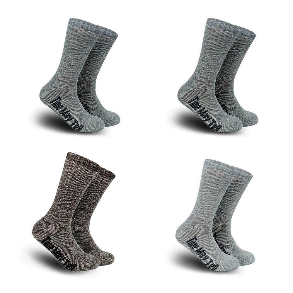 Time May Tell Mens Merino Wool Hiking Cushion Socks Pack(2Dark grey,Light grey,Brown(4 pairs), US Size 5~9) ... by Time May Tell