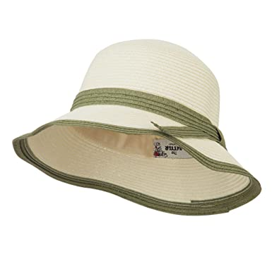 144352b2562 Paper Straw Trimmed Bucket Hat - Ivory Olive OSFM at Amazon Women s ...