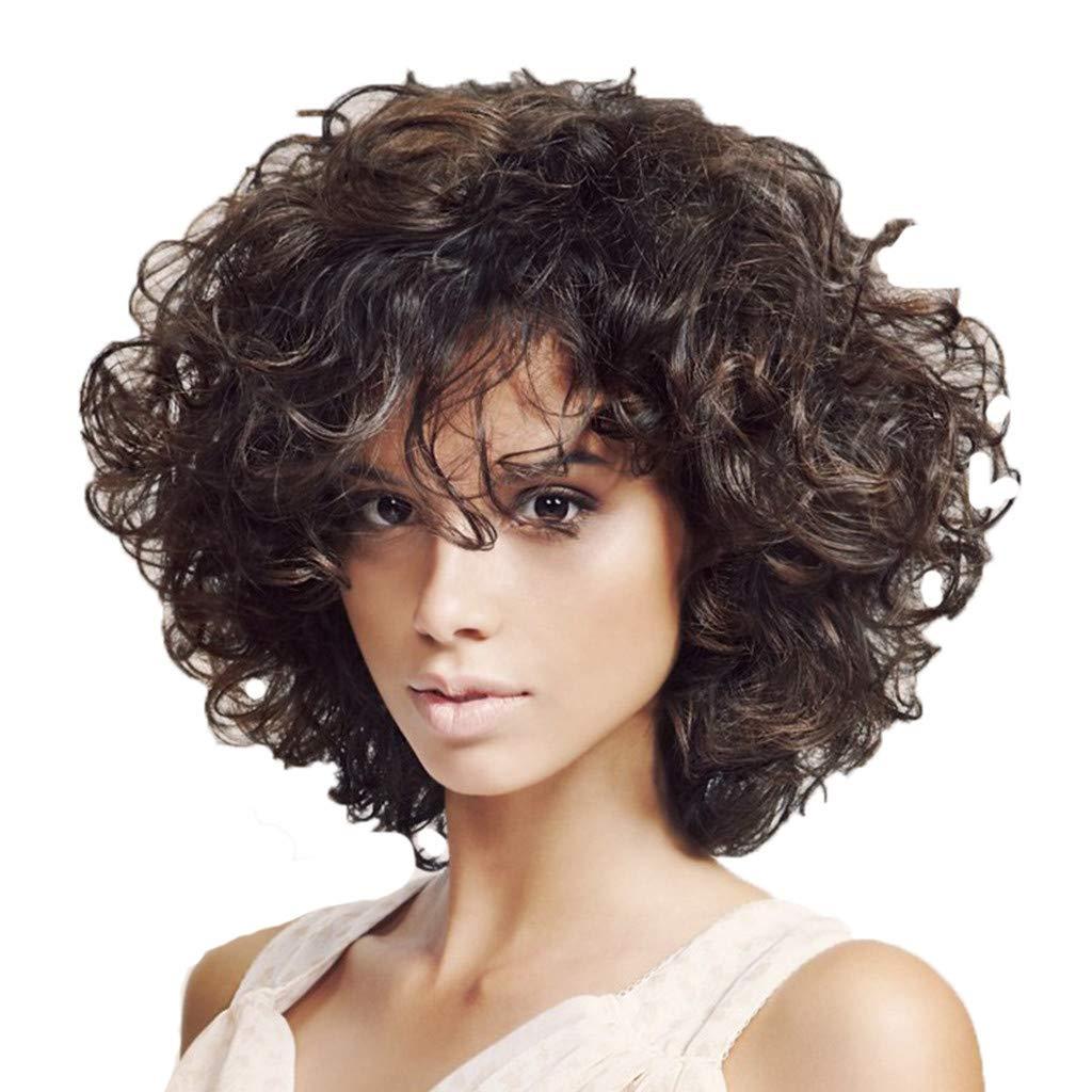 Soupliebe/_Peluca de Mujer Micro-Volumen Peluca de Pelo Peluca de Pelo de Mujer Pelucas rizadas Afro Negras Cortas Negras 34cm Natural Pelucas de Pelo para Uso Diario y Evento Especial