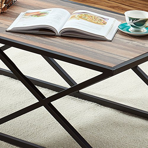 Coffee Table Legs Brown: O&K Furniture Industrial Coffee Table For Living Room