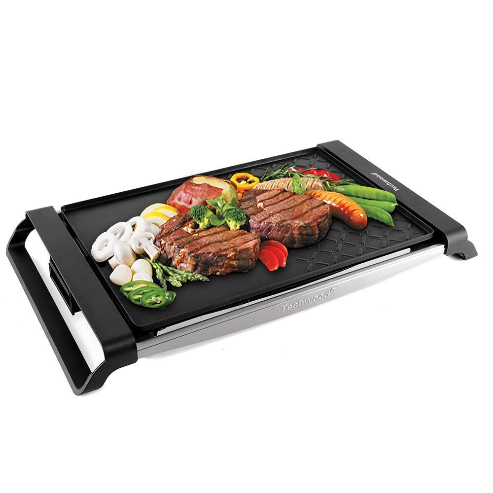 Techwood Raclette Grill Electric Grill Portable BBQ Grill Table Grill Multi-Plate Indoor/Outdoor Grill 1500W Cast Iron Stainless Steel Non-stick Grilling Surface for Party by Techwood