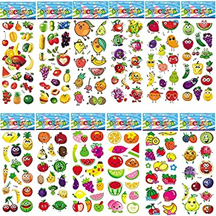 XCVBN Vegetable Fruit 3D Stickers Cartoon Bubble Puffy Sticker Pack Not Repeat Education Toy For Kids Watermelon 6 Sheets: Amazon.es: Coche y moto